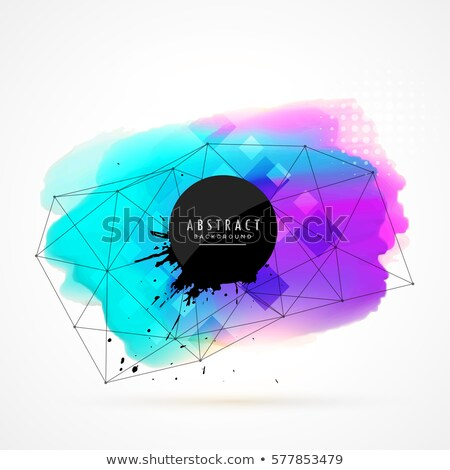 blue and purple watercolor stain with technology wire mesh Stock photo © SArts