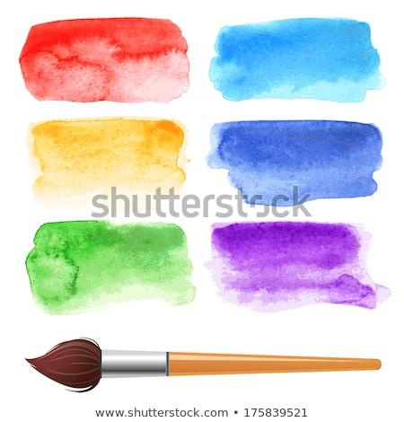 Six Watercolor Brush Stroke Stain Stock photo © mart