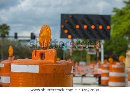 kerülőút · előre · út · forgalom · probléma · citromsárga - stock fotó © fresh_7135215