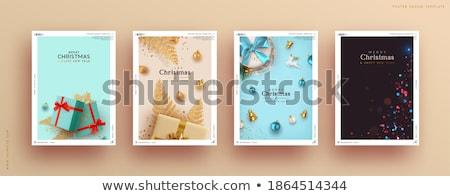 neşeli · Noel · happy · new · year · tebrik · kartı · altın · top - stok fotoğraf © Alkestida