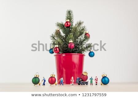 karácsony · dekoráció · mikulás · szobrocska · zöld · labda - stock fotó © oleksandro