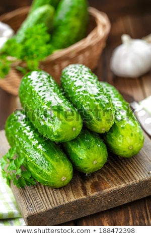 Fresh cucumber on the wooden table Stock photo © Valeriy