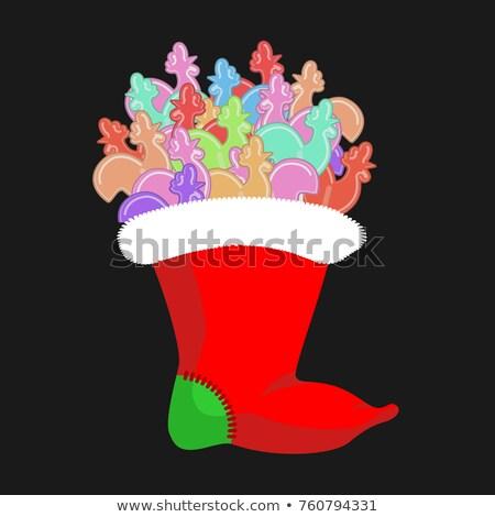 Christmas pończocha kogut candy tradycyjny wakacje Zdjęcia stock © popaukropa