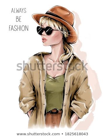 sensueel · blond · meisje · zonnebril · dame · hemel - stockfoto © neonshot
