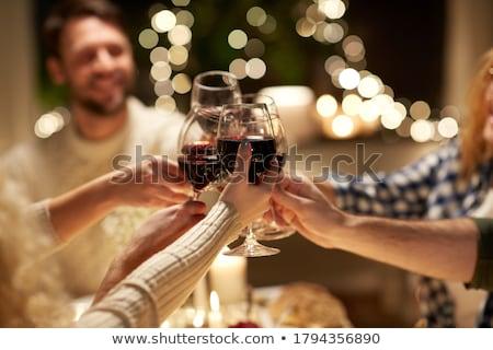 Noël Toast illustration femme vin homme Photo stock © adrenalina