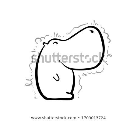 Cartoon Hippo Silhouette Sitting Stock photo © cthoman