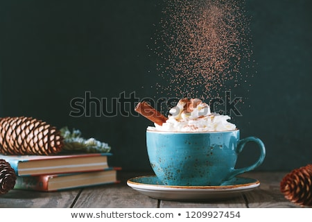 book and cup of coffee or hot chocolate on table Stock photo © dolgachov