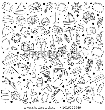 Stock photo: Beach bag hand drawn outline doodle icon.