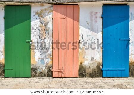 Few old wooden colorful doors on shabby light wall background Stock photo © bezikus