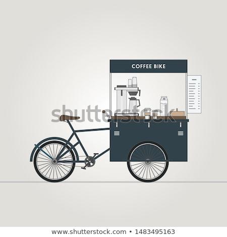 кофе мобильных магазин продавец корзины Колеса Сток-фото © robuart