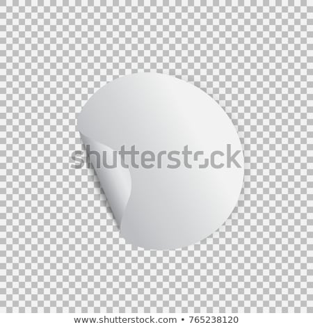 Blank round sticker with curled corners on transparent background, realistic mockup. Vector illustra Stock photo © olehsvetiukha