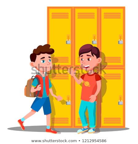 Teenagers Near Lockers In School Vector. Isolated Illustration Stock photo © pikepicture