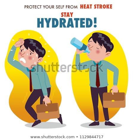 Overheated Businessman Poster Vector Illustration Stock photo © robuart