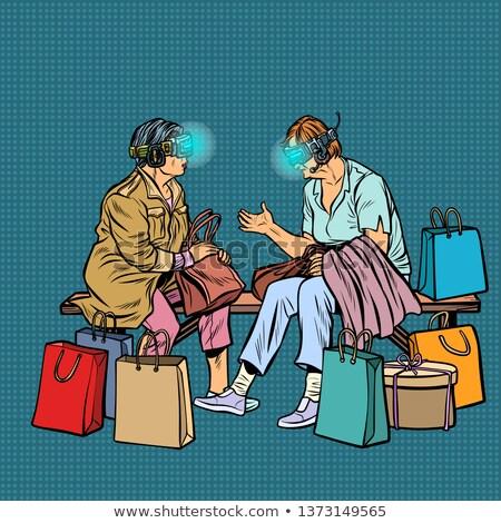 Idoso mulheres compras on-line virtual realidade óculos Foto stock © studiostoks