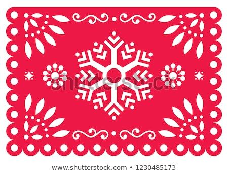 christmas papel picado vector design with snowflake mexican winter paper decorations blue and whit stock photo © redkoala