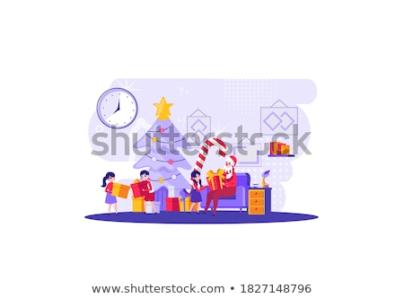 The whole family together in the new year design template.