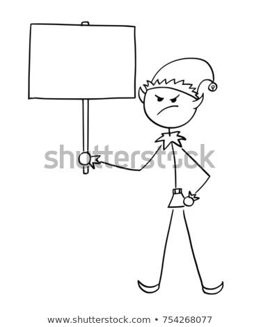 Desenho animado zangado elfo homem olhando Foto stock © cthoman