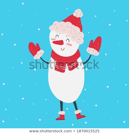 beautiful retro christmas card with polar bear and snowman stock photo © balasoiu