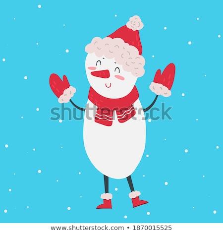 Beautiful retro Christmas card with polar bear and snowman Stock photo © balasoiu