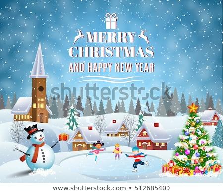 陽気な クリスマス 雪だるま スケート 雪 ストックフォト © ori-artiste