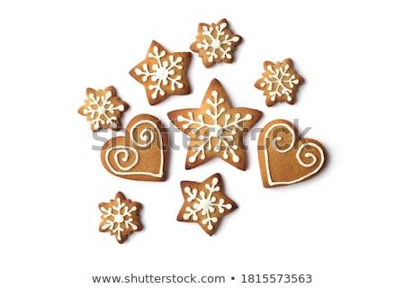 Noel zencefilli çörek kurabiye tebrik kartı ahşap arka plan Stok fotoğraf © karandaev