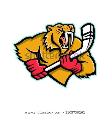 Saber Toothed Cat Ice Hockey Mascot Stock photo © patrimonio