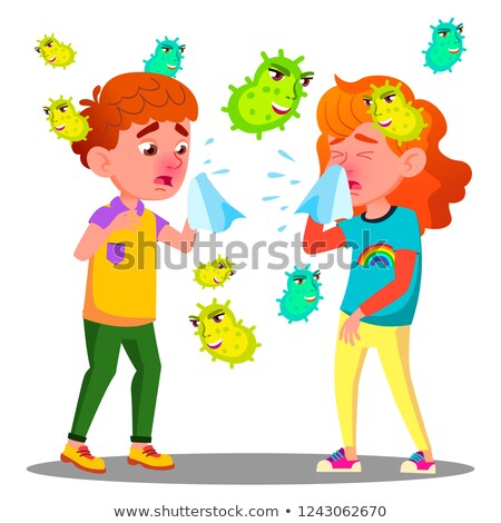 Sneezing Boy And Girl Surrounded By Flying Bacteria Vector. Isolated Cartoon Illustration Stock photo © pikepicture