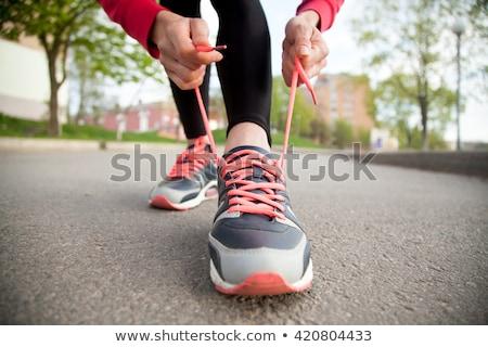futócipők · nő · futó · cipő · csipke · fut - stock fotó © boggy