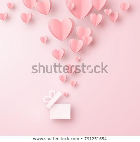 Stockfoto: Valentijnsdag · geschenkdoos · Rood · hartvorm · geïsoleerd · witte