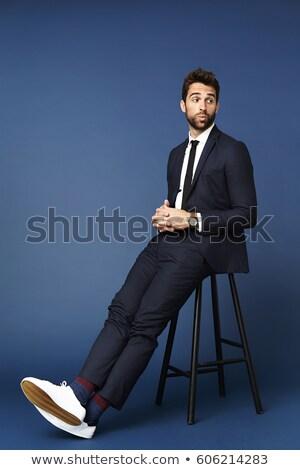 retrato · curioso · barbado · jóvenes · empresario · gafas - foto stock © feedough