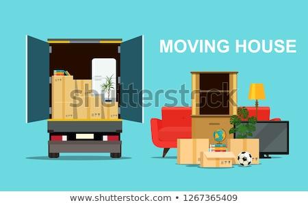 Mover muebles cajas vector cartón personal Foto stock © robuart