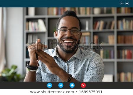 気楽な · 幸せ · 小さな · あごひげを生やした · 男 · 手 - ストックフォト © lopolo