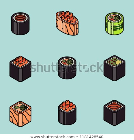 sushi · logotipo · design · de · logotipo · comida · peixe · coração - foto stock © netkov1