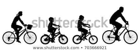 genç · kadın · binicilik · üç · tekerlekli · bisiklet · siluetleri · yol · siluet - stok fotoğraf © krisdog
