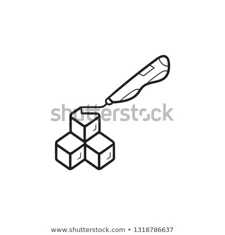 3d doodler pen and cubes hand drawn outline doodle icon. Stock photo © RAStudio