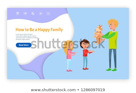 Happy Family with Dog Website with Links Vector Stock photo © robuart