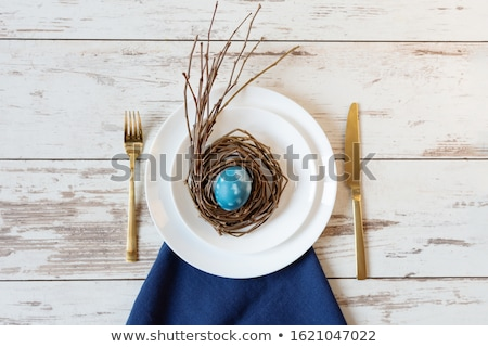 Stock photo: Spring Easter Table setting at white marble table. Top view