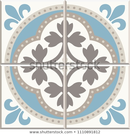 Portuguese or Spanish retro tile Azulejos vector seamless design, geometric background - textile or  Stock photo © RedKoala