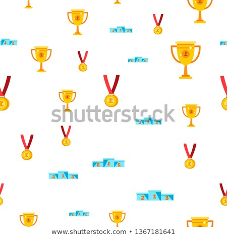 Award Seamless Pattern Vector. Gold Cup Prize. Victory Symbol. Challenge. Cute Graphic Texture. Text Stock photo © pikepicture