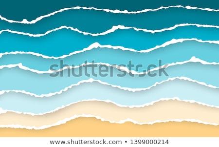 Mavi deniz plaj yaz yırtık kağıt Stok fotoğraf © olehsvetiukha