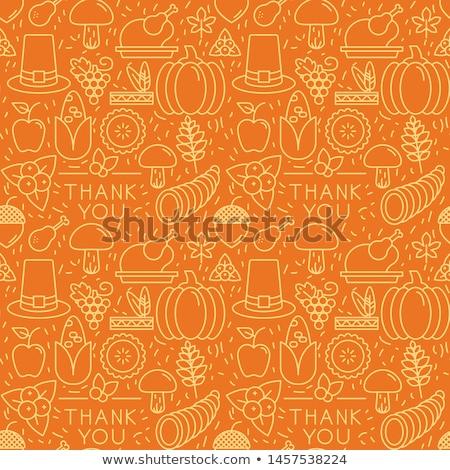 happy thanksgiving set pattern stock photo © netkov1