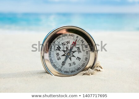 Gouden kompas begraven zandstrand business Stockfoto © AndreyPopov