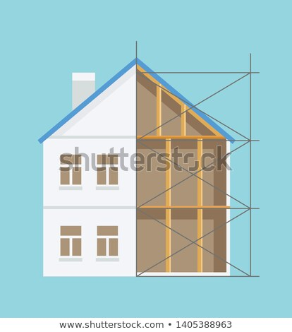 Half Built House, Interior and Exterior Vector Stock photo © robuart