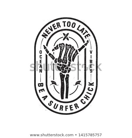 Klasszikus szörf logo nyomtatott terv csontváz Stock fotó © JeksonGraphics