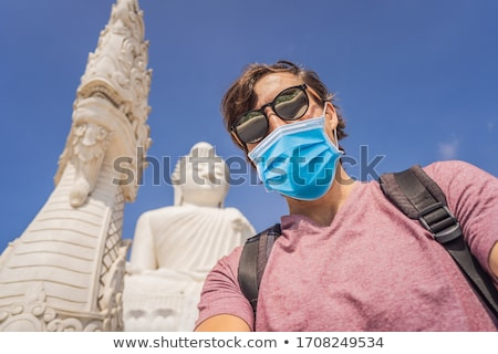 Stock fotó: Man Tourist On Background Of Big Buddha Statue Was Built On A High Hilltop Of Phuket Thailand Can Be