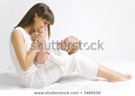 楽しい 母親 赤ちゃん 少年 座って ベッド ストックフォト © lichtmeister