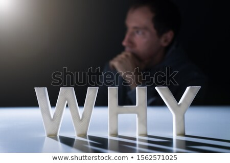 White Why Text With Man Sitting At The Background Stock photo © AndreyPopov