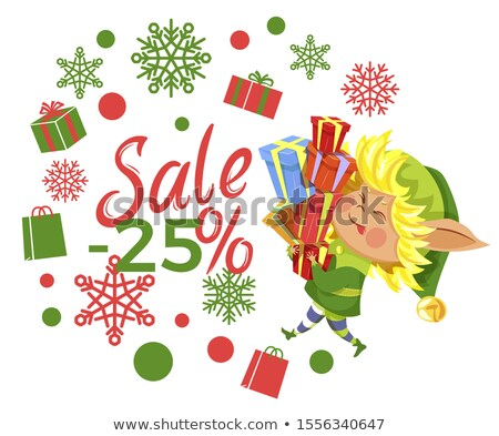 Stockfoto: Postcard With Elf And 25 Percent Promo Vector