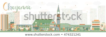Abstract Cheyenne (Wyoming) Skyline with Color Buildings. Stock photo © ShustrikS