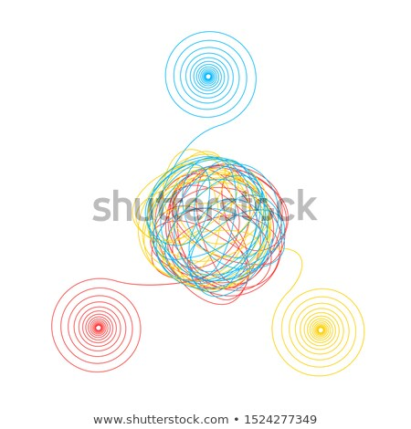 Complicated chaotic clew made of three thin colorful threads isolated on white Stock photo © evgeny89